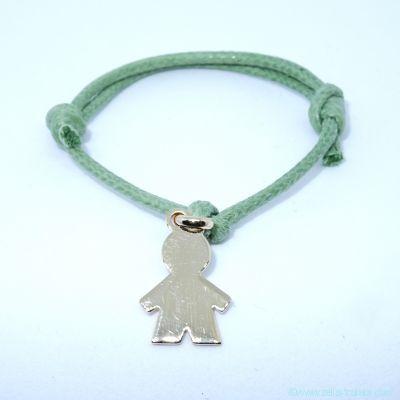 Bracelet personnalisé : bracelet petit garçon plaqué or avec bélière