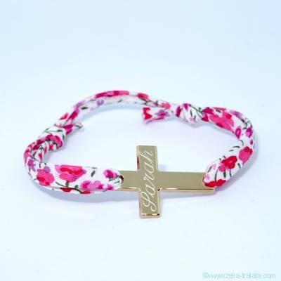 Bracelet personnalisé en Liberty,  croix plate plaqué or