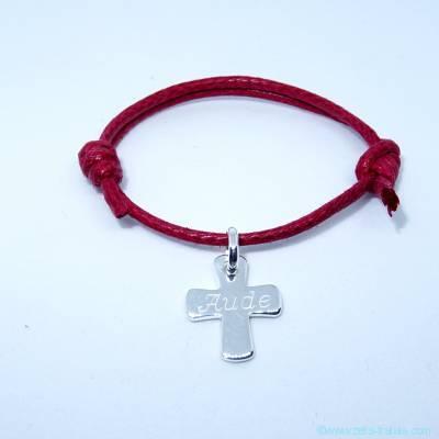Bracelet personnalisé petite croix en argent