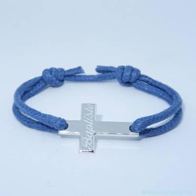 Bracelet personnalisé croix horizontale fine argent sur cordon