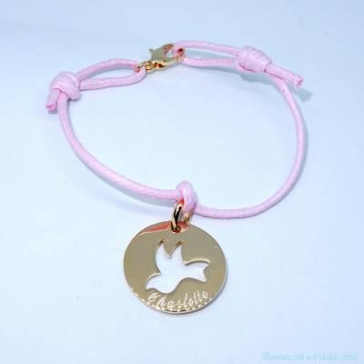 Bracelet personnalisé médaille plaqué or, colombe