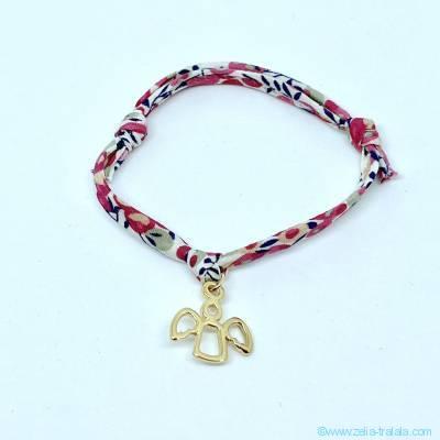 Bracelet personnalisé en Liberty,  croix sur pastille plaqué or