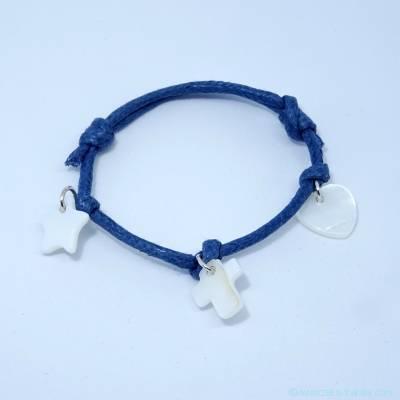 Bracelet personnalisé étoile, croix, cœur nacre sur cordon