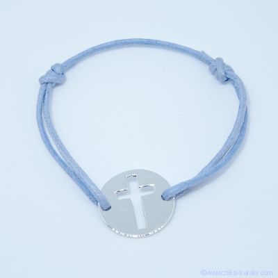 Bracelet personnalisé pastille argent croix évidée