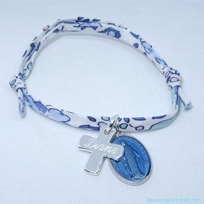 Bracelet personnalisé médaille miraculeuse bleu lavande,  croix argent