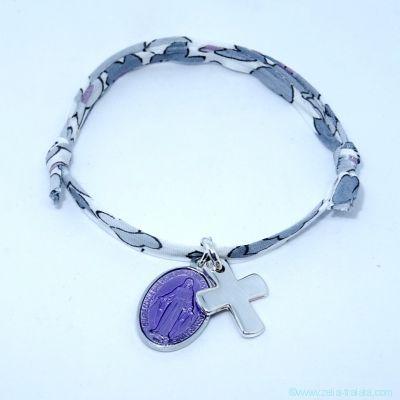 Bracelet personnalisé médaille miraculeuse parme,  croix argent