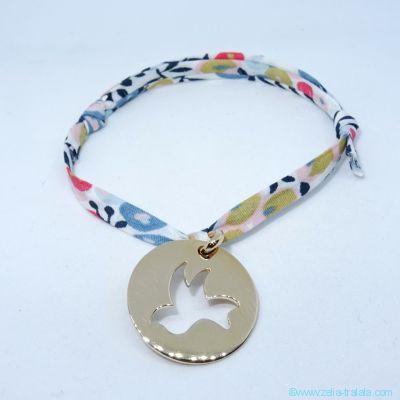 Bracelet personnalisé médaille plaqué or, colombe sur Liberty