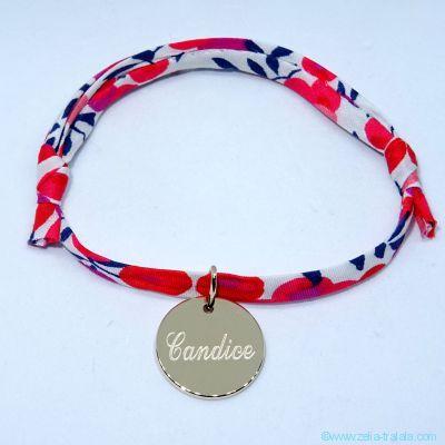 Bracelet petite médaille en plaqué or sur Liberty