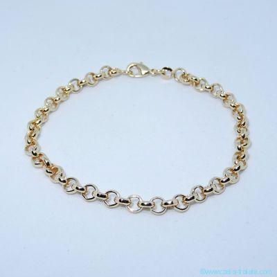 Bracelet fin maille Boules, anneaux ouverts, en plaqué or