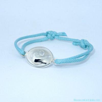 Bracelet médaille Vierge en argent sur cordon