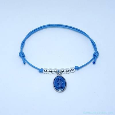 Bracelet perles en argent et petite médaille miraculeuse bleu clair