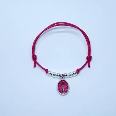 Bracelet perles en argent et petite médaille miraculeuse rose
