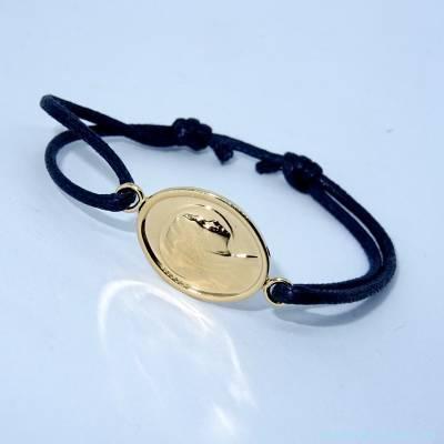 Bracelet Vierge plaqué or sur cordon