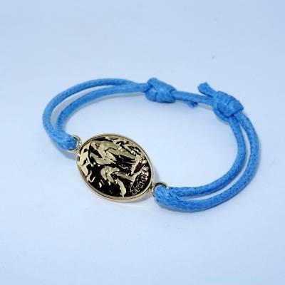 Bracelet  Lourdes plaqué or sur cordon