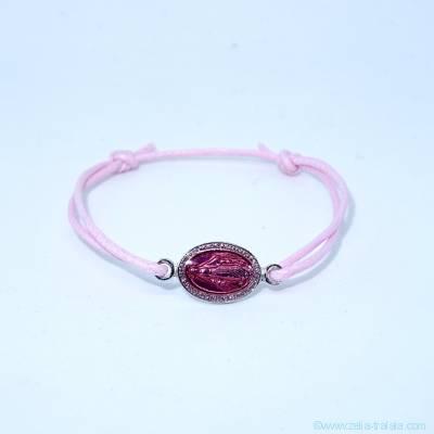 Bracelet petite médaille miraculeuse intercalaire émaillée rose sur cordon