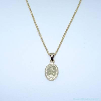 Pendentif petite médaille Miraculeuse sur chaîne, plaqué or