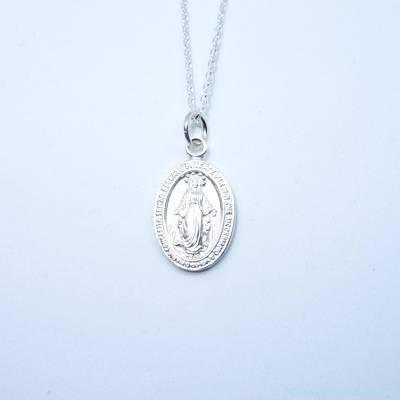 Pendentif petite médaille Miraculeuse sur chaîne, en argent