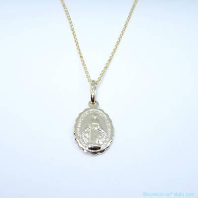 Pendentif médaille Miraculeuse sur chaîne, en plaqué or