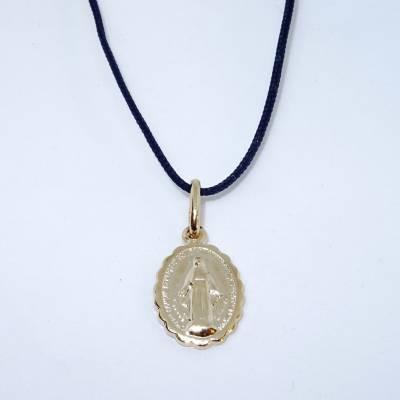 Pendentif médaille Miraculeuse en plaqué or sur cordon