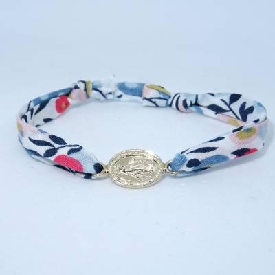 Bracelet médaille miraculeuse intercalaire plaqué or sur Liberty
