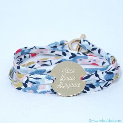 Bracelet pastille en plaqué or sur triple cordon de Liberty