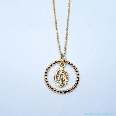 Pendentif médaille miraculeuse et anneau perlé en plaqué or