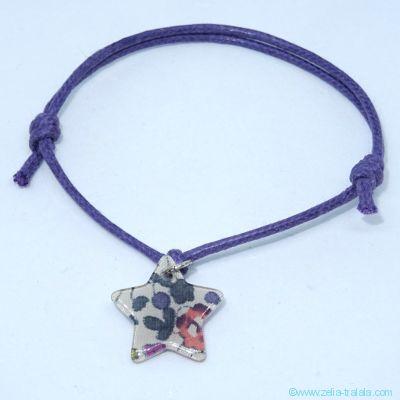 Bracelet breloque en Liberty Eloïse prune