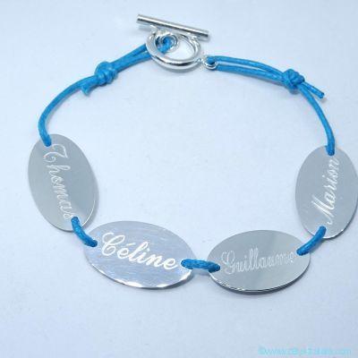 Le bracelet personnalisé 3 pastilles ovales en argent sur cordon