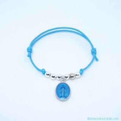 Bracelet perles en argent et petite médaille miraculeuse turquoise