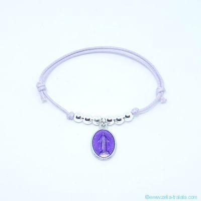 Bracelet perles en argent et petite médaille miraculeuse violet