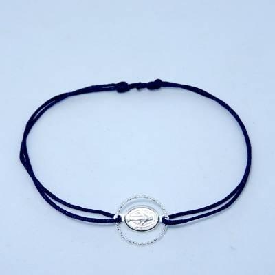 Bracelet mini médaille Miraculeuse et son anneau, en argent