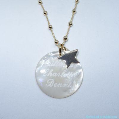 Pendentif personnalisé en nacre et son étoile en plaqué or, sur chaîne