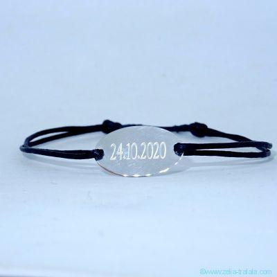 Bracelet pastille ovale fine en argent sur cordon