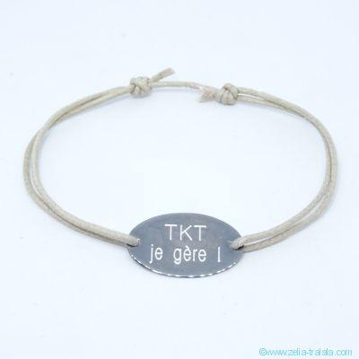 Bracelet pastille ovale fine en argent gris foncé sur cordon