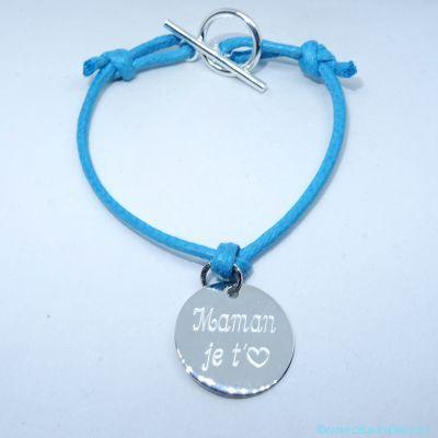 Bracelet personnalisé une breloque en argent sur cordon