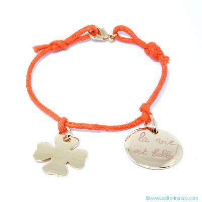 Bracelet personnalisé 2 breloques plaqué or sur cordon