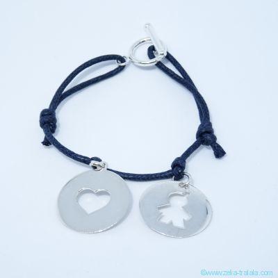 Bracelet personnalisé 2 breloques en argent sur cordon