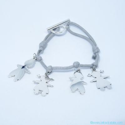 Bracelet personnalisé 4 breloques en argent sur cordon