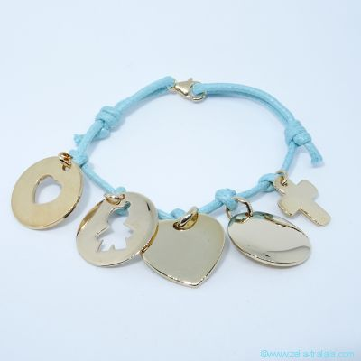 Bracelet personnalisé 5 breloques plaqué or sur cordon
