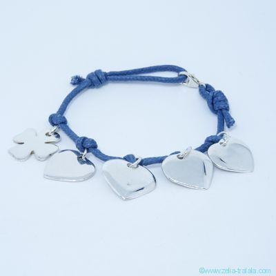 Bracelet personnalisé 5 breloques en argent sur cordon