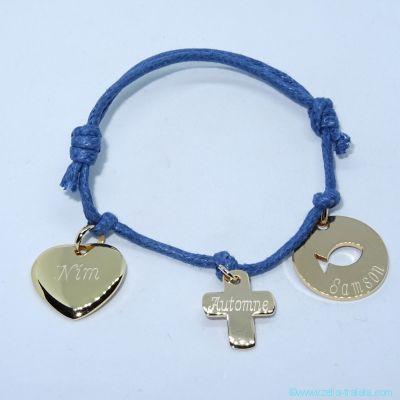 Bracelet personnalisé 3 breloques plaqué or sur cordon
