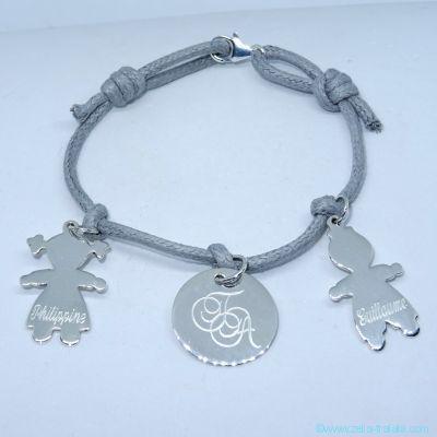 Bracelet personnalisé 3 breloques en argent sur cordon