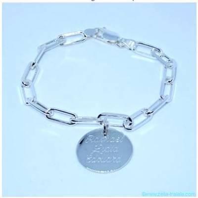 Bracelet maille large une breloque, en argent