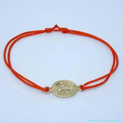 Bracelet médaille miraculeuse intercalaire plaqué or sur cordon fin