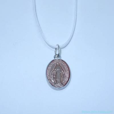 Pendentif médaille miraculeuse rose poudré