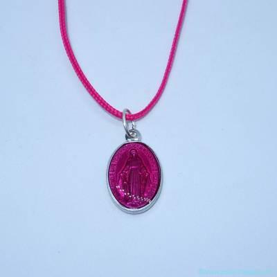 Pendentif médaille miraculeuse fushia