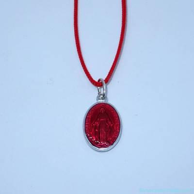 Pendentif médaille miraculeuse rouge