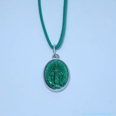 Pendentif médaille miraculeuse verte
