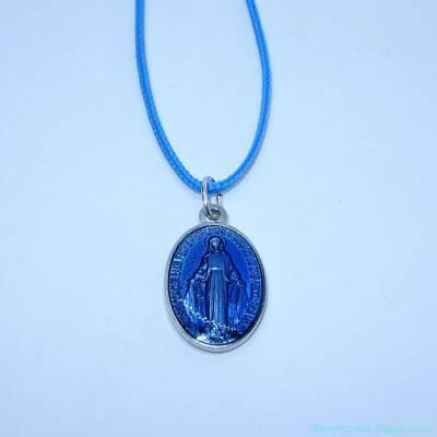 Pendentif grande médaille miraculeuse bleue