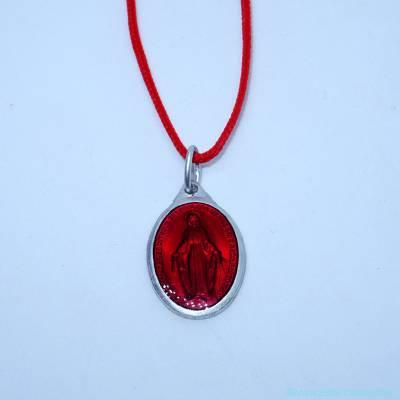 Pendentif grande médaille miraculeuse rouge
